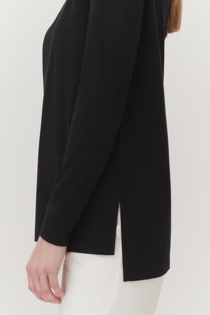 Pima Boatneck Long Sleeve Tee in Black