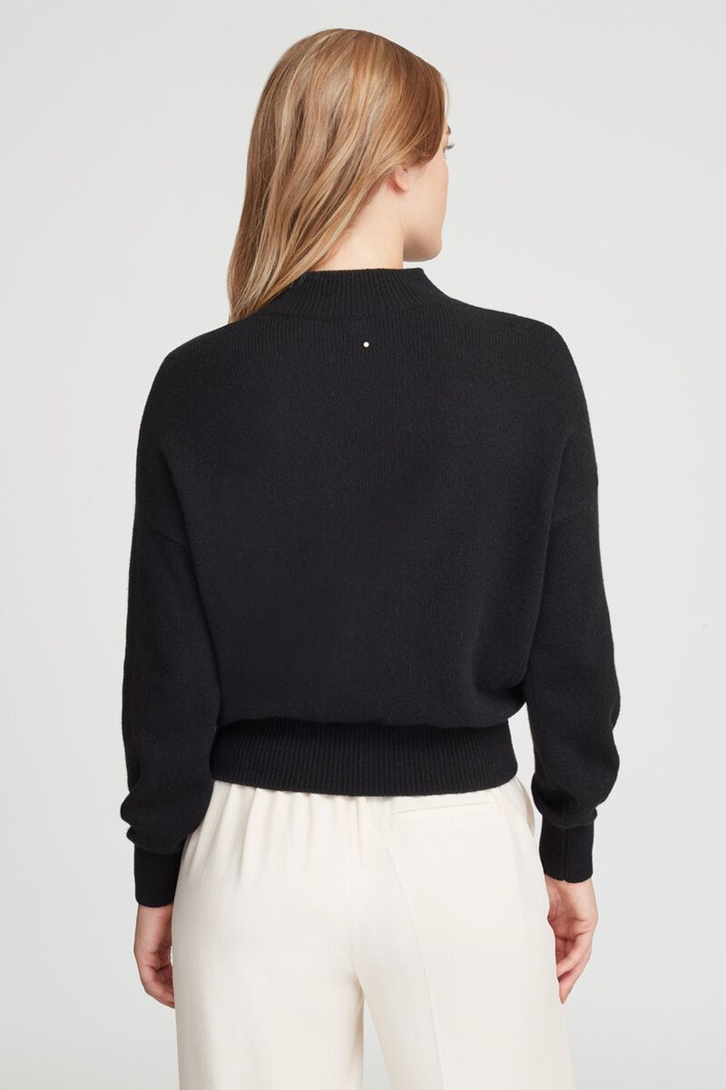 Recycled Cashmere Mock Neck Sweater in Black
