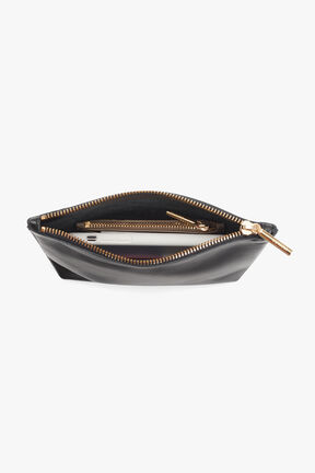 Mini Leather Zipper Pouch in Black