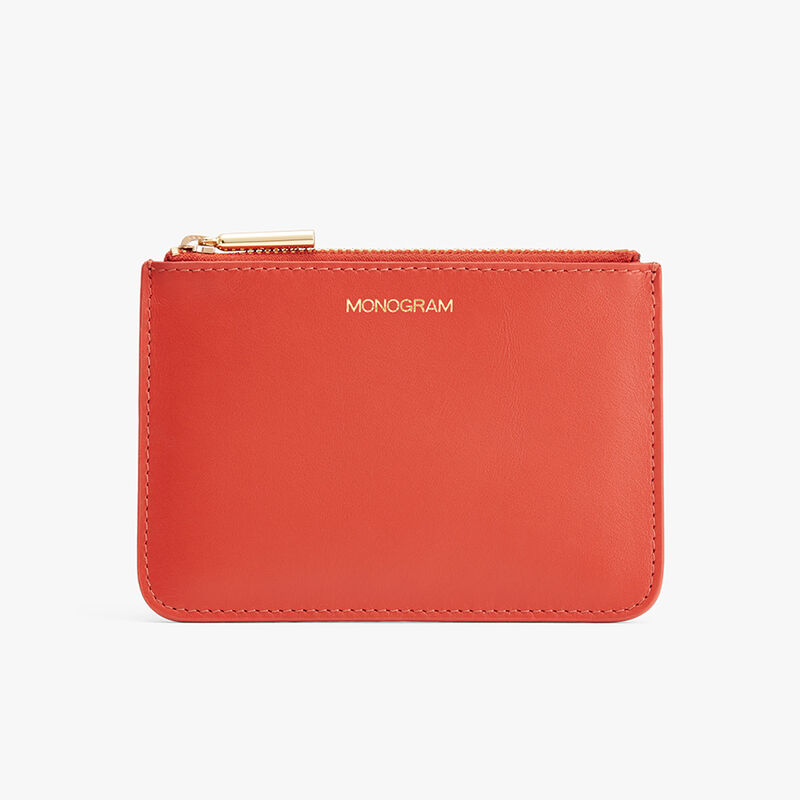 Slim Leather Pouch in Blood Orange