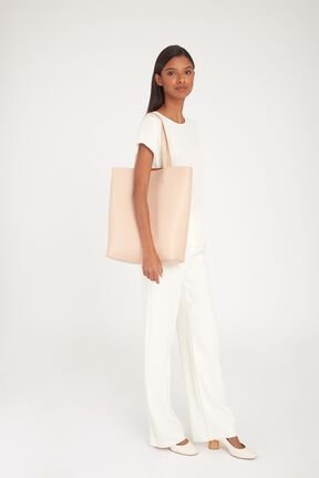 Tall Structured Leather Tote, Blush, plp