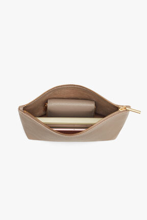 Small Leather Zipper Pouch, Stone, plp