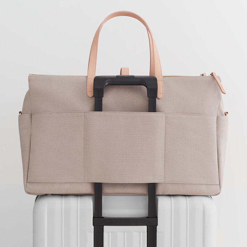 Triple Zipper Weekender, Soft Grey/Natural, large