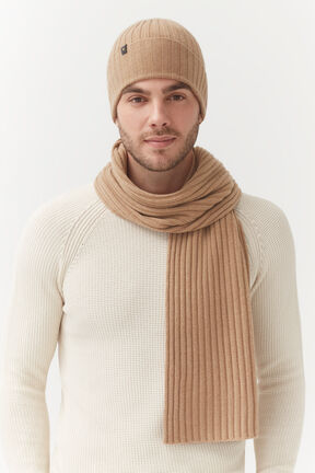 Men's Wool Cashmere Ribbed Scarf