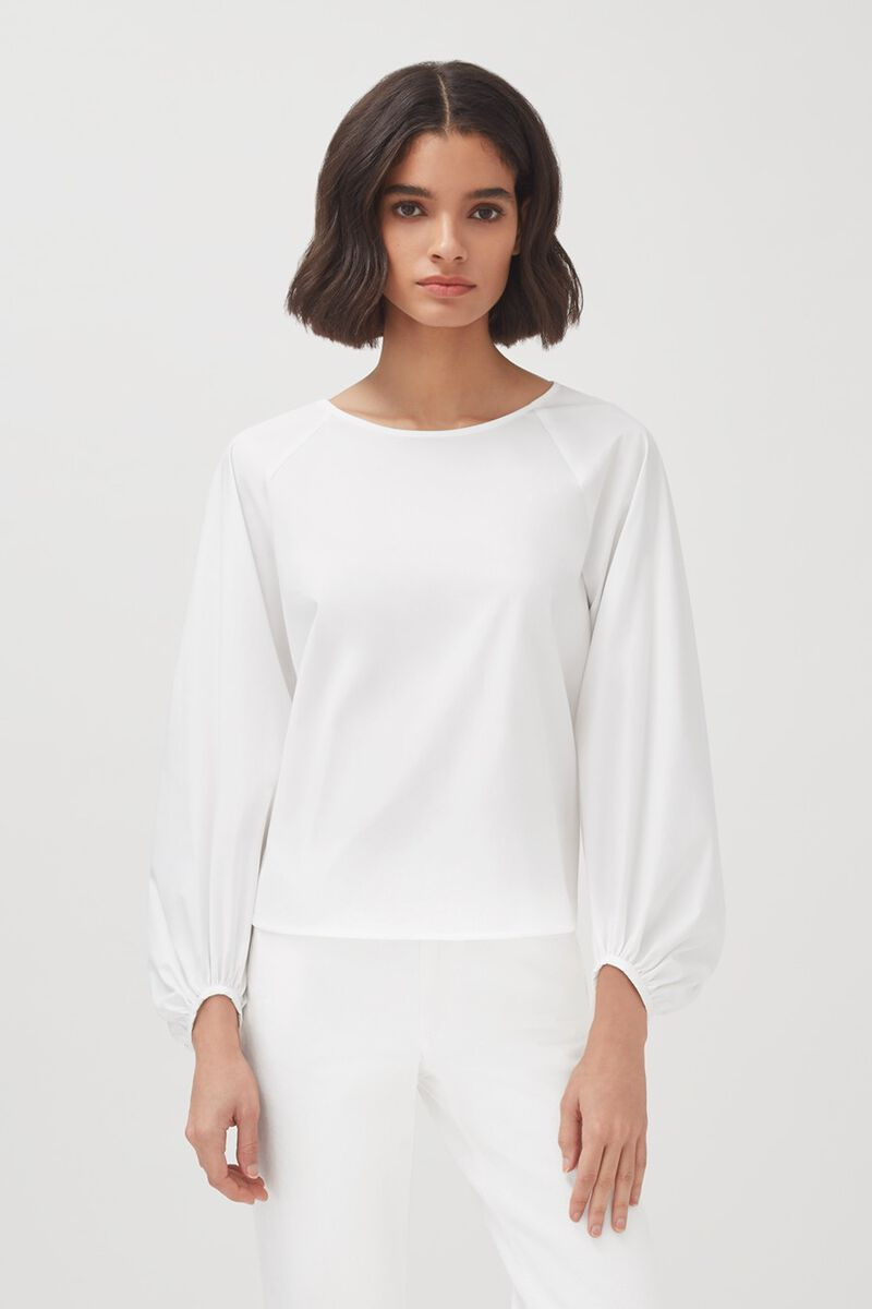 Poplin Open Back Shirt in White