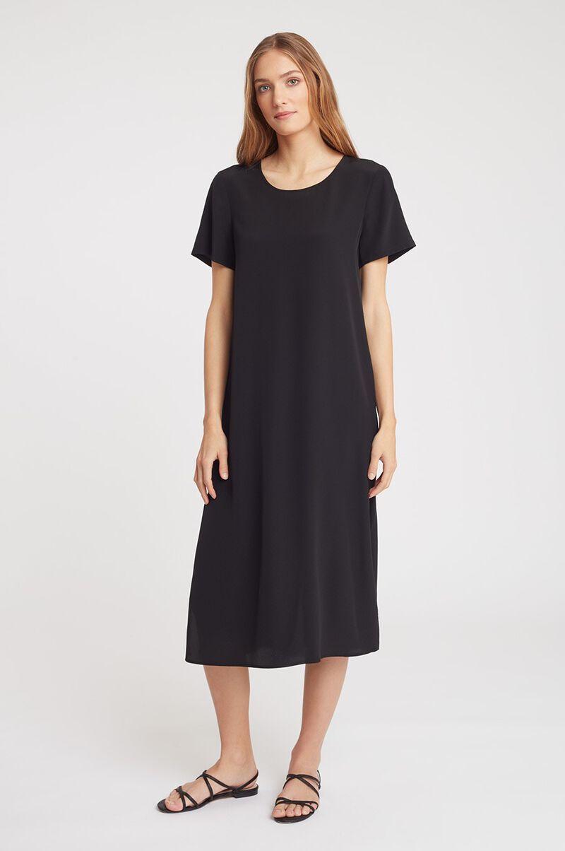 Silk Pleat-Back Tee Dress in Black