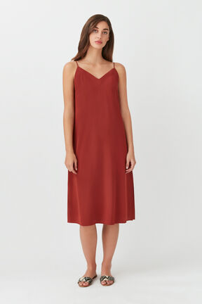 Silk Slip Dress in Terracotta