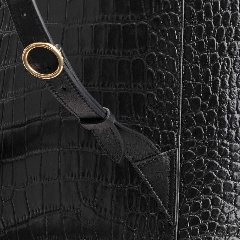Large Leather Backpack in Textured Black