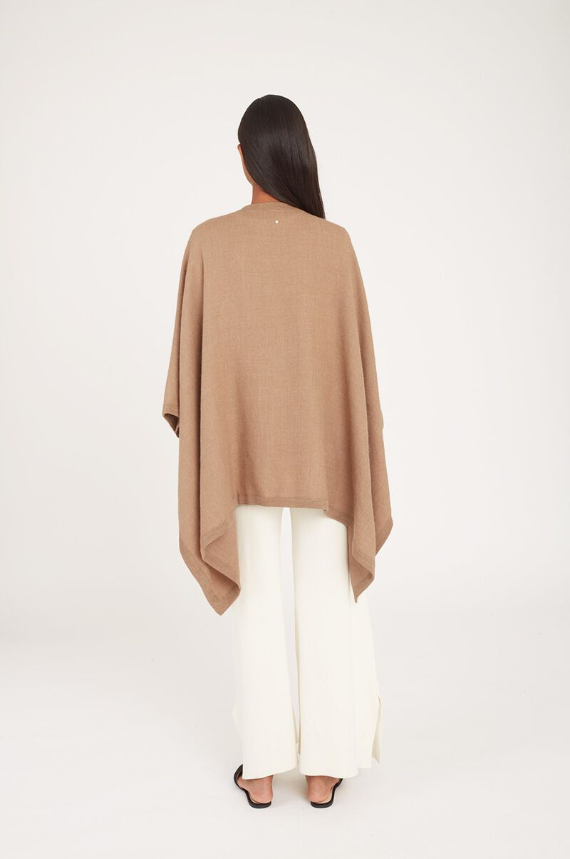 Baby Alpaca Square Edge Cape in Camel
