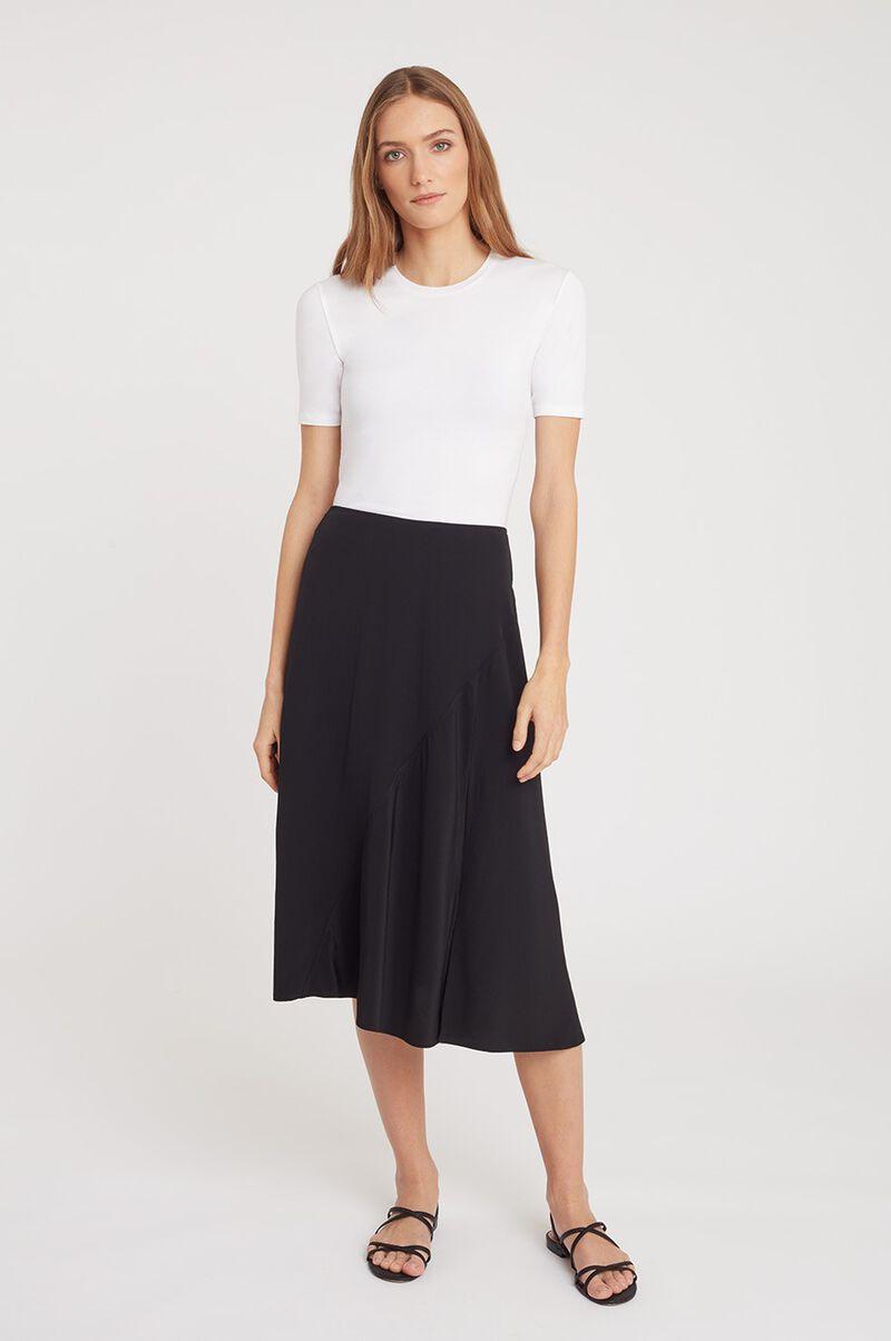Silk Asymmetrical Skirt in Black
