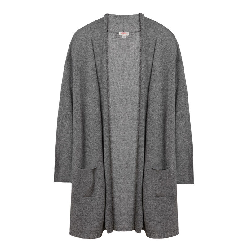 Open Cashmere Cardigan in Light Heather Grey