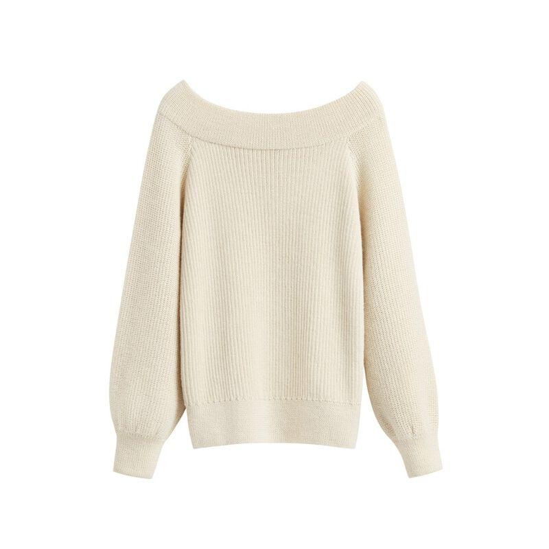 Alpaca Off-The-Shoulder Sweater in Ecru
