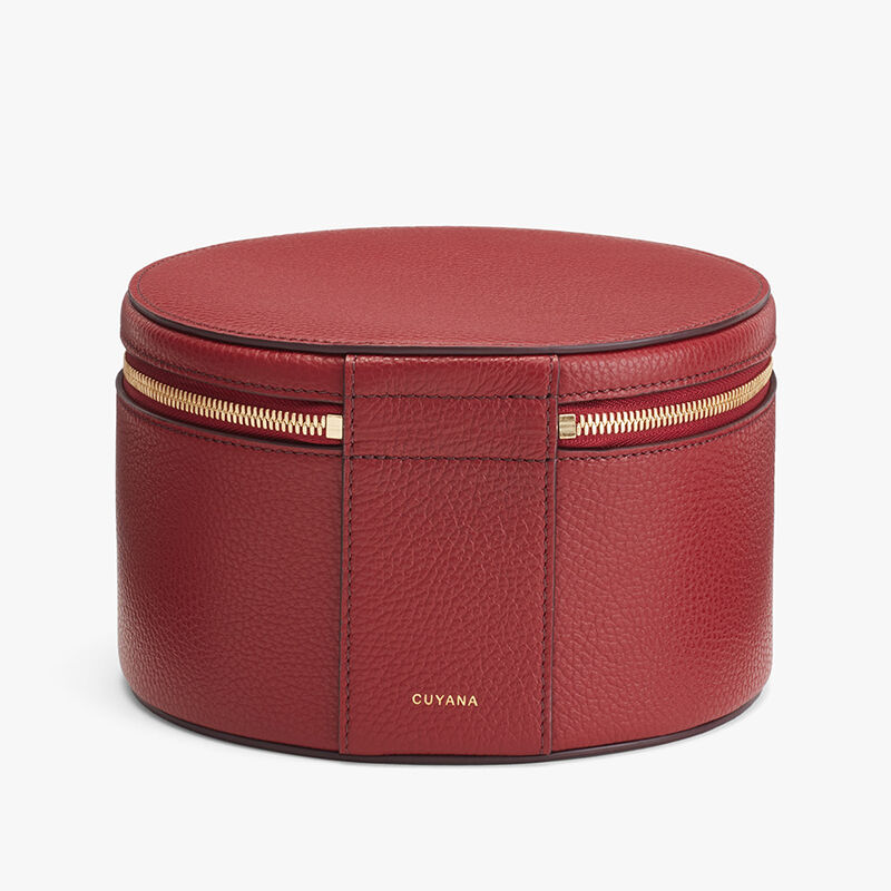 Leather Wellness Case in Ruby