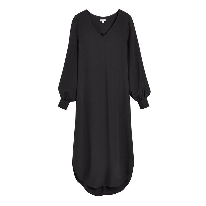 Silk High-Low Midi Dress in Black