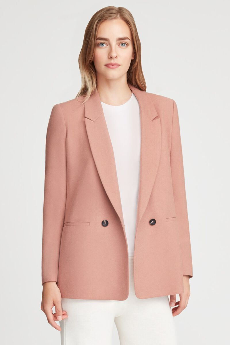 Wool Double-Breasted Blazer in Dusty Rose