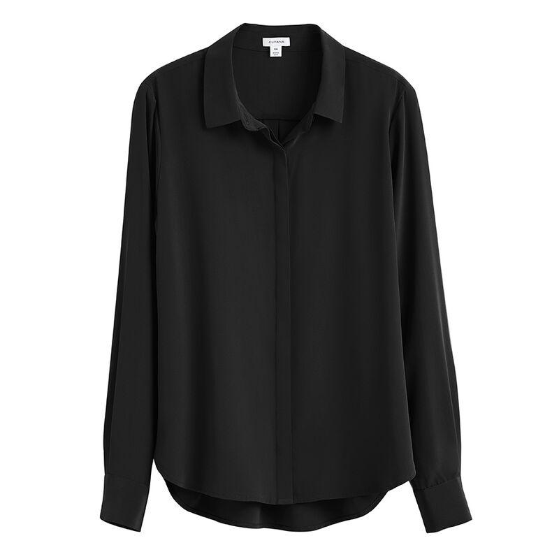 Silk Button Down Shirt in Black