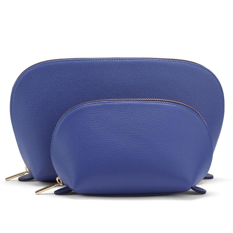 Leather Travel Case Set, Sapphire, large