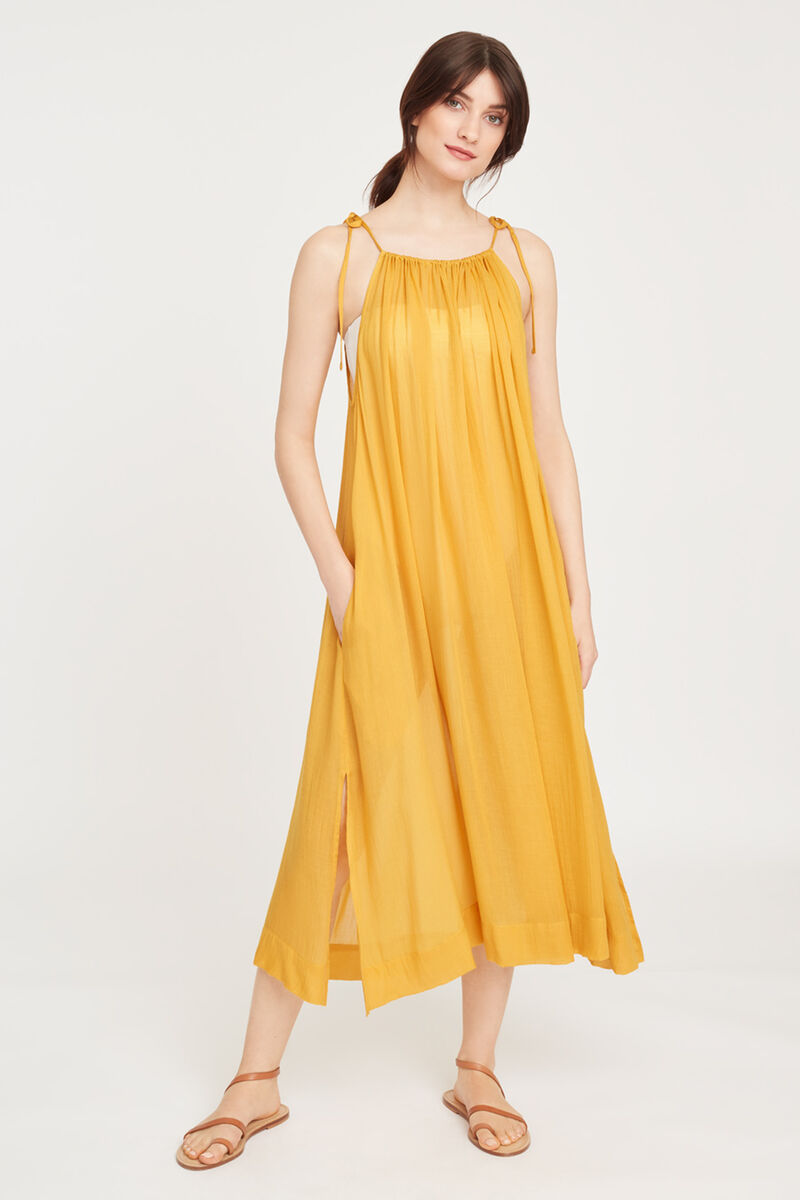 Gathered Neck Maxi Cover Up Daffodil
