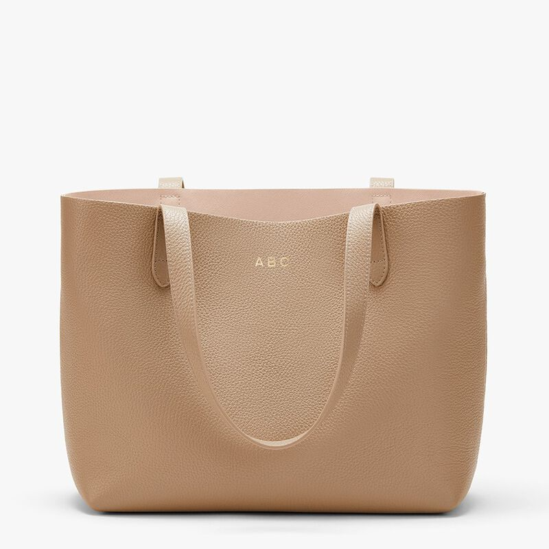 Small Structured Leather Tote in Cappuccino/Blush