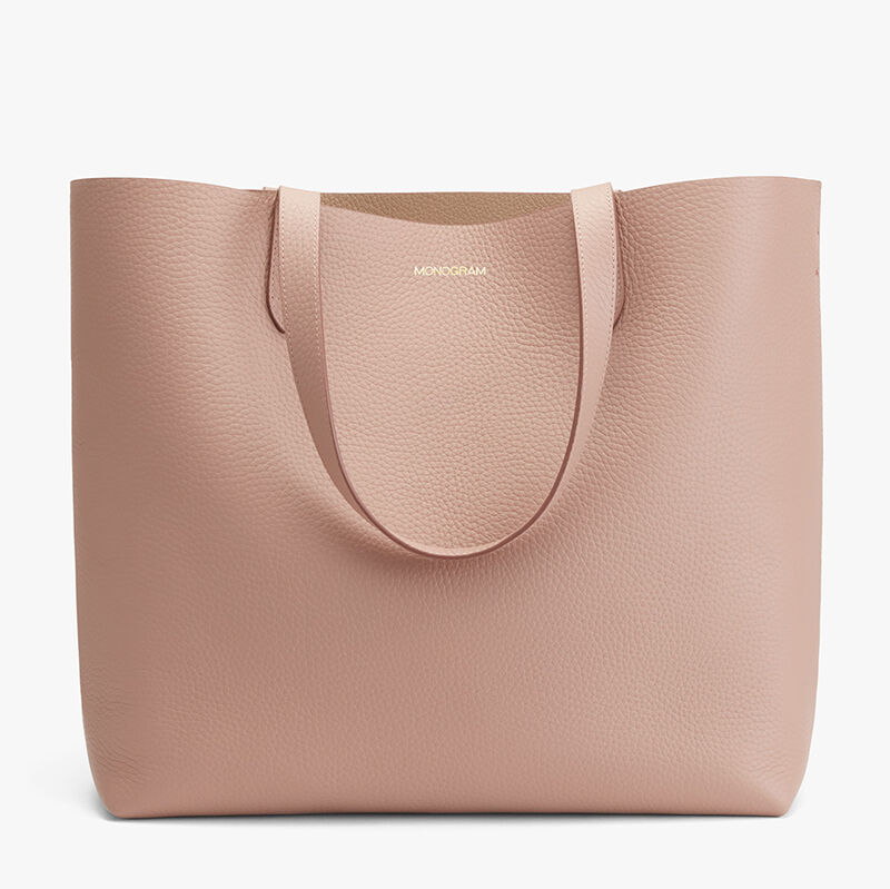 Classic Structured Leather Tote, Soft Rose/Cappuccino, large