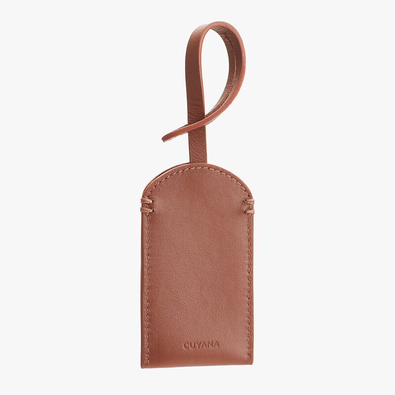 Leather Luggage Tag in Chestnut