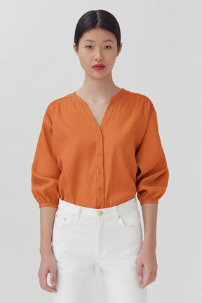 Linen Button Front Blouse, Burnt Orange, plp