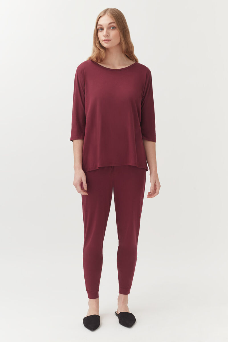 Pima Tapered Pant in Berry