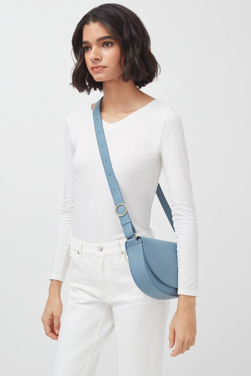 Half-Moon Shoulder Bag in Dusk Blue