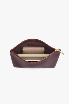 Small Leather Zipper Pouch, Burgundy, plp