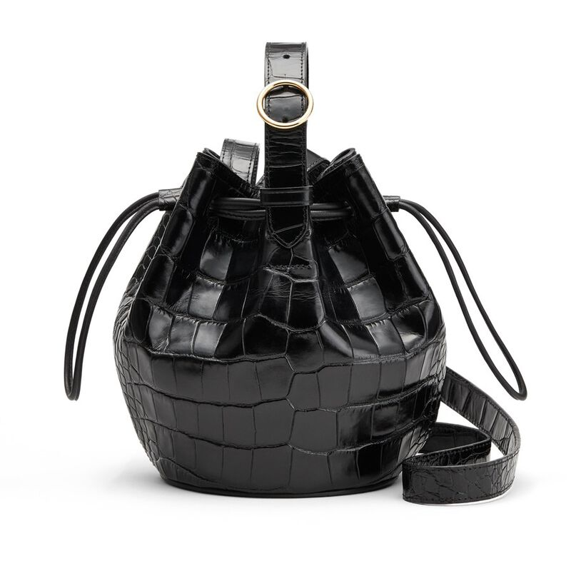 Mini Drawstring Bucket Bag in Black
