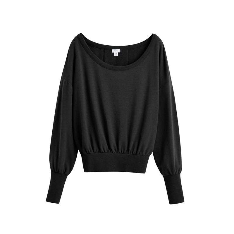 French Terry Boatneck Sweatshirt in Black