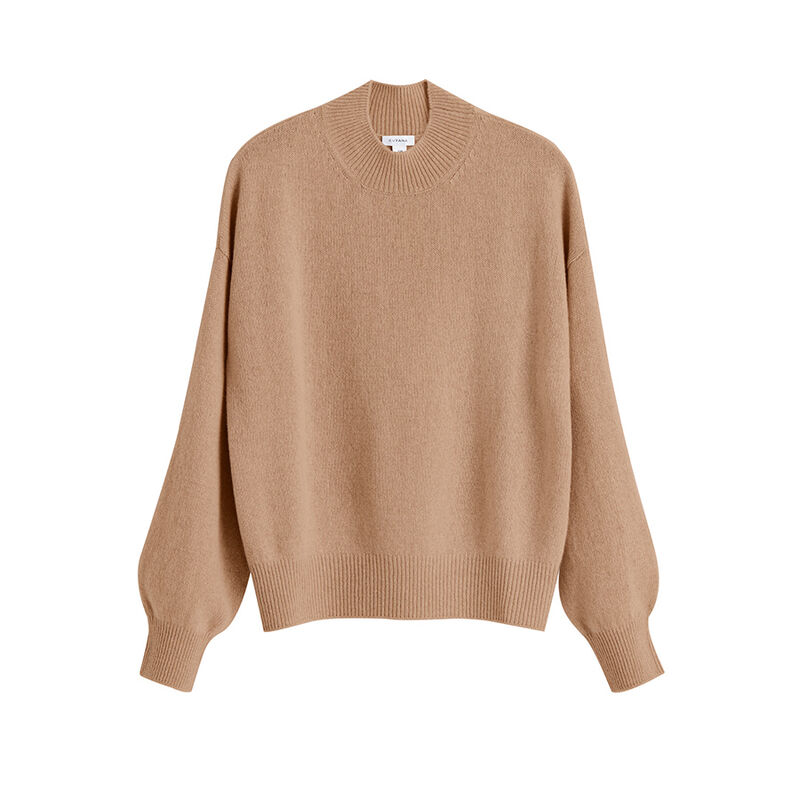 Recycled Cashmere Mock Neck Sweater in Camel