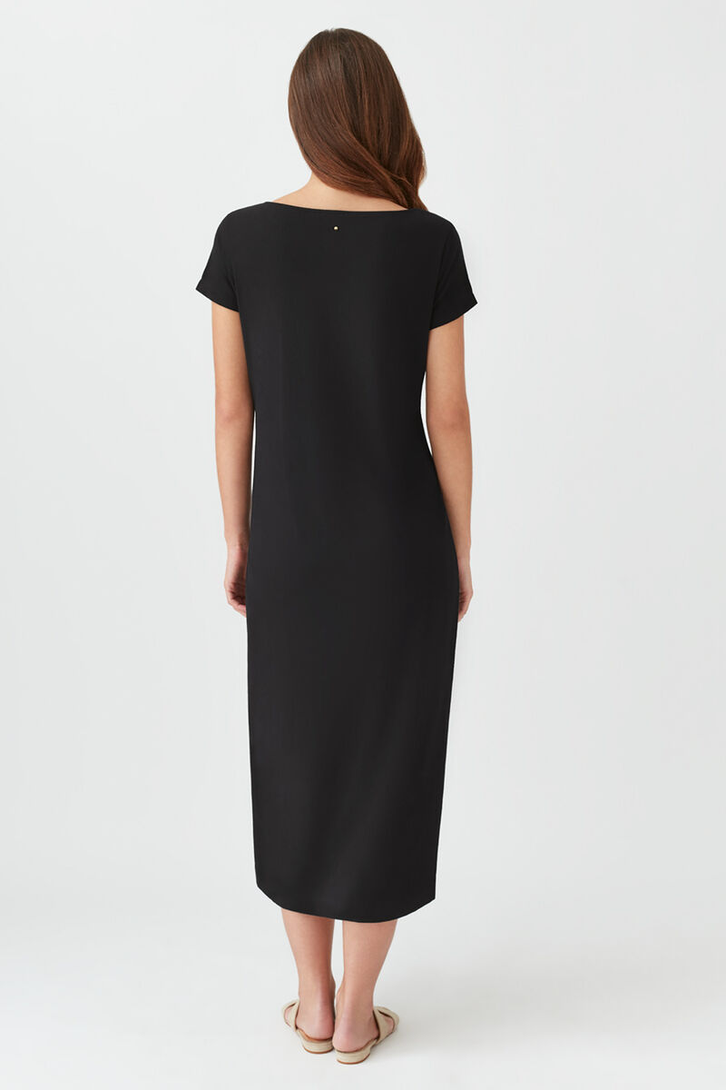 Gathered Front Tee Dress Black