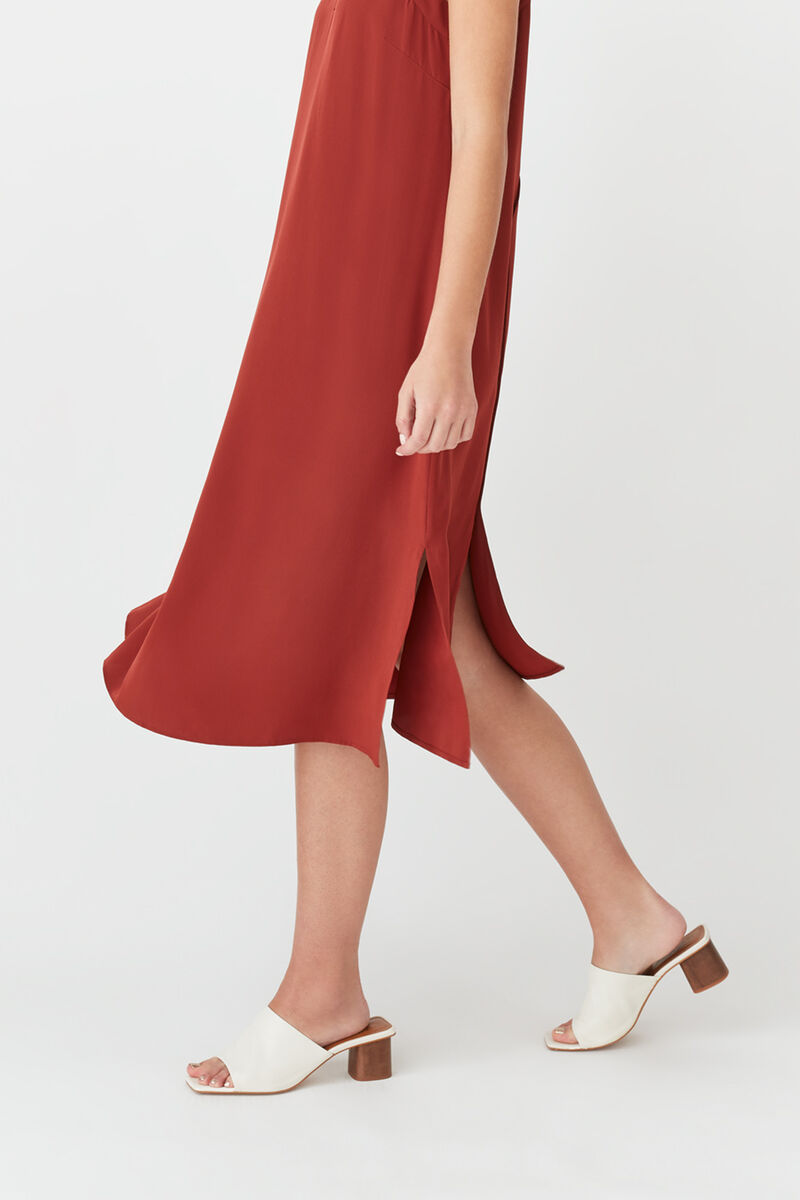 Silk Slip Dress in Terracotta