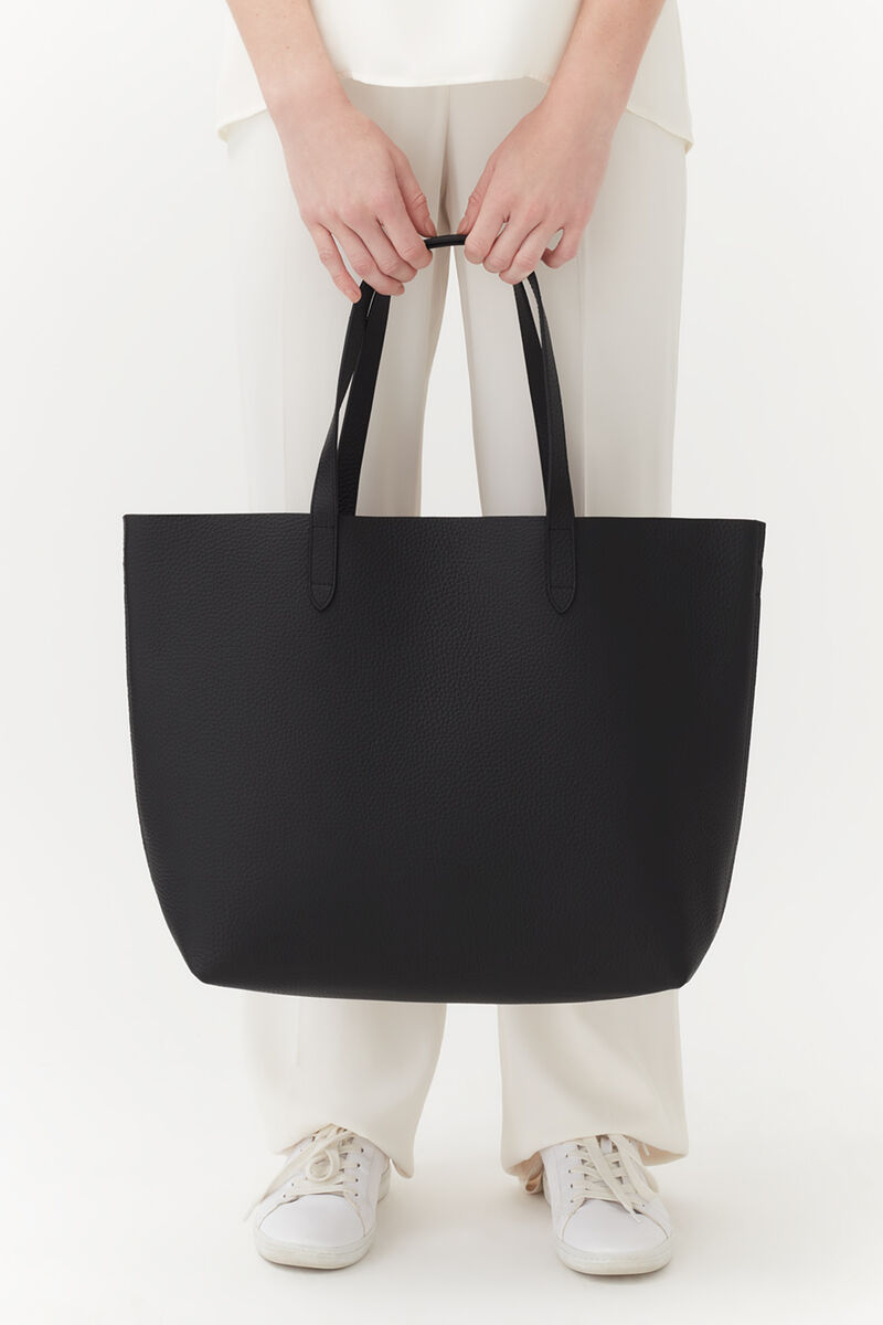 Classic Structured Leather Tote in Black/Ruby