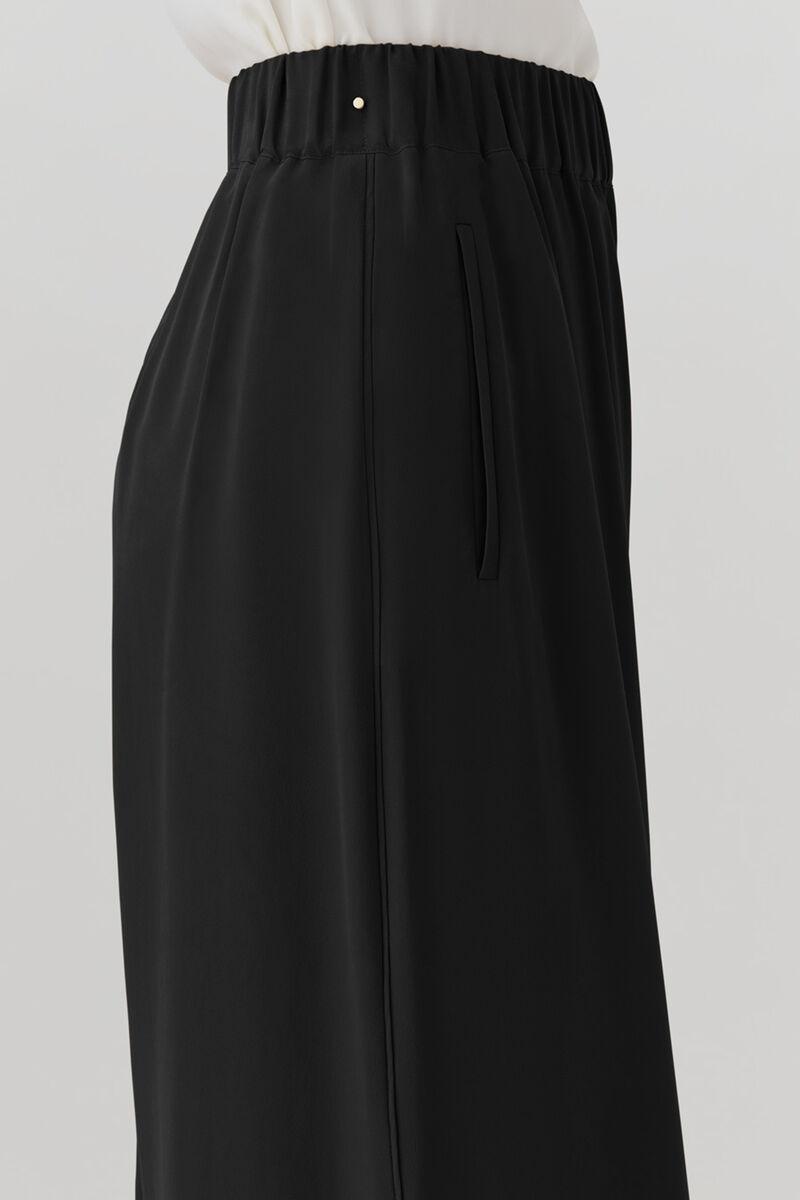 Washable Silk Wide-Leg Cropped Pant, Black, large