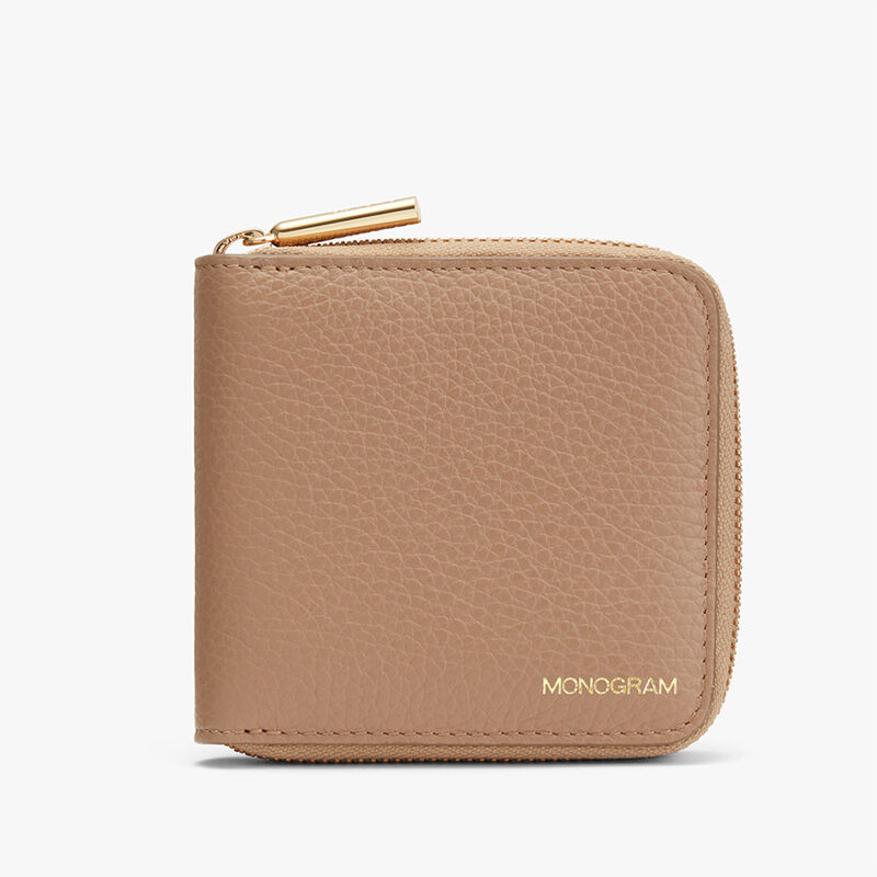Small Classic Zip Around Wallet in Cappuccino