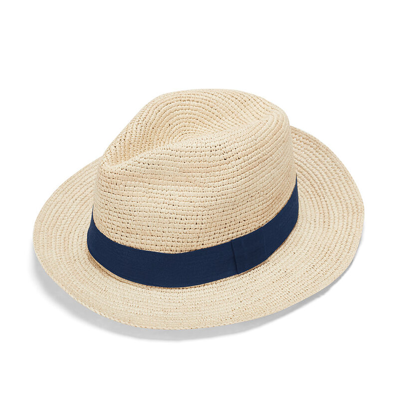 Folding Panama Hat in Natural/Navy