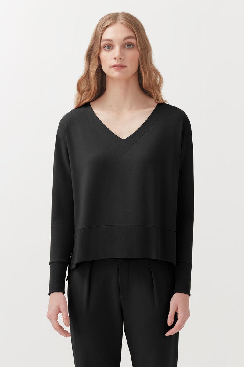 French Terry V-Neck Sweatshirt in Black