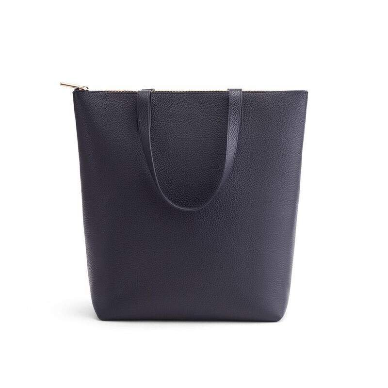 Tall Structured Leather Zipper Tote in Navy
