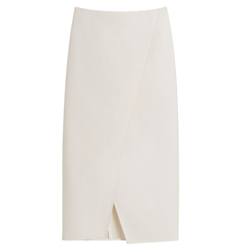 Cotton Twill Paneled Skirt in Ecru