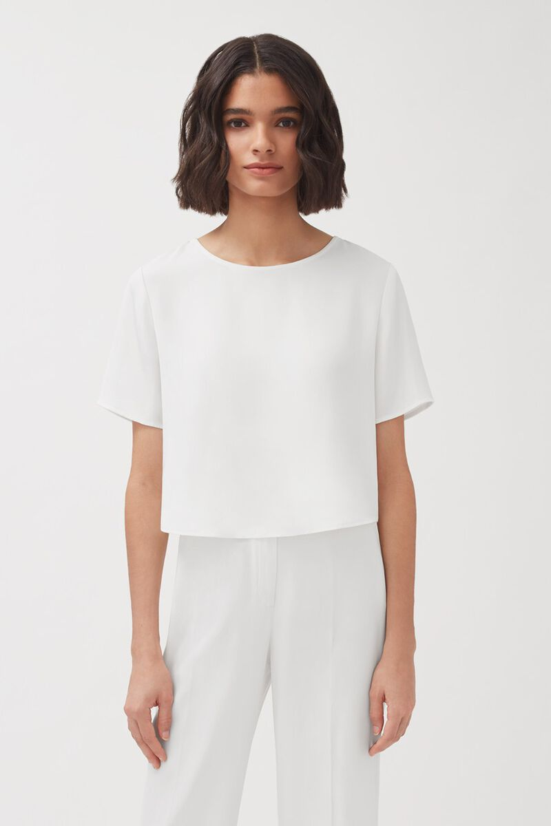 Silk Cropped Tee in White