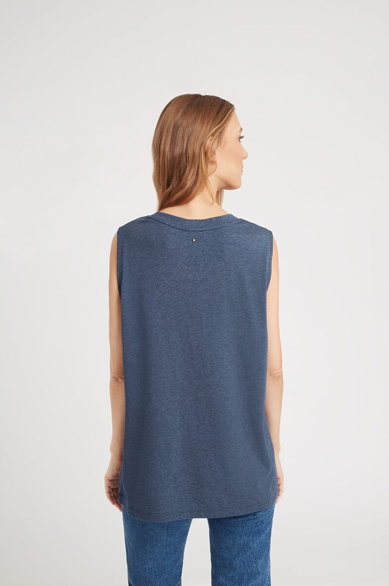 Relaxed Muscle Tank in Indigo Heather
