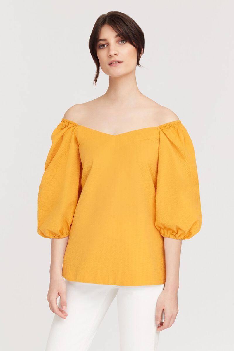 Seersucker Balloon Sleeve Top in Daffodil