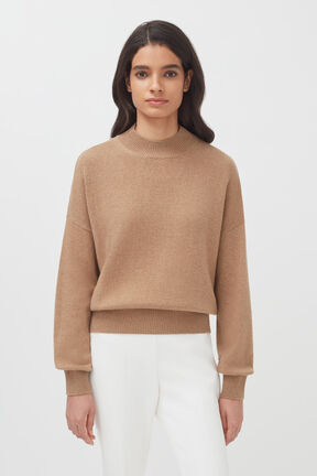 Recycled Cashmere Mock Neck Sweater