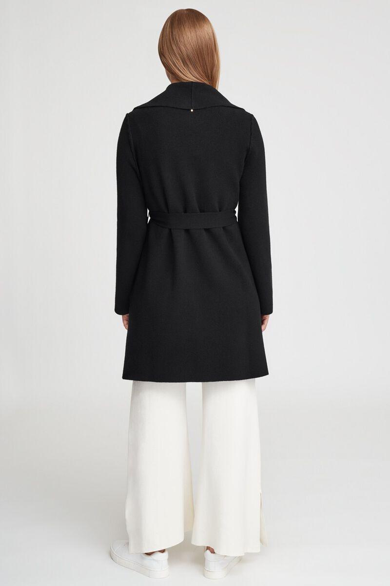 Wool Cashmere Short Wrap Coat in Black