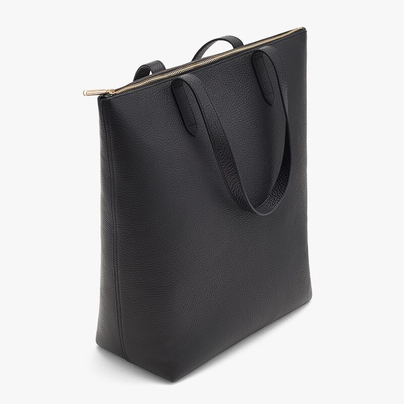 Tall Structured Leather Zipper Tote in Black