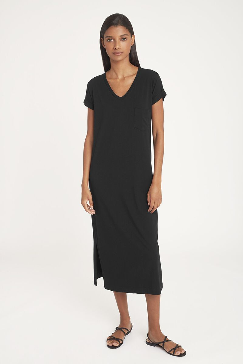 V-Neck Midi Dress in Black