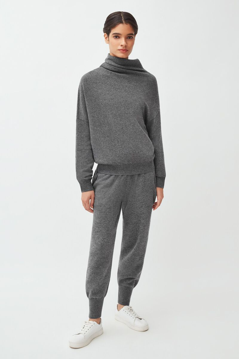 Cashmere Asymmetrical Turtleneck Sweater in Charcoal