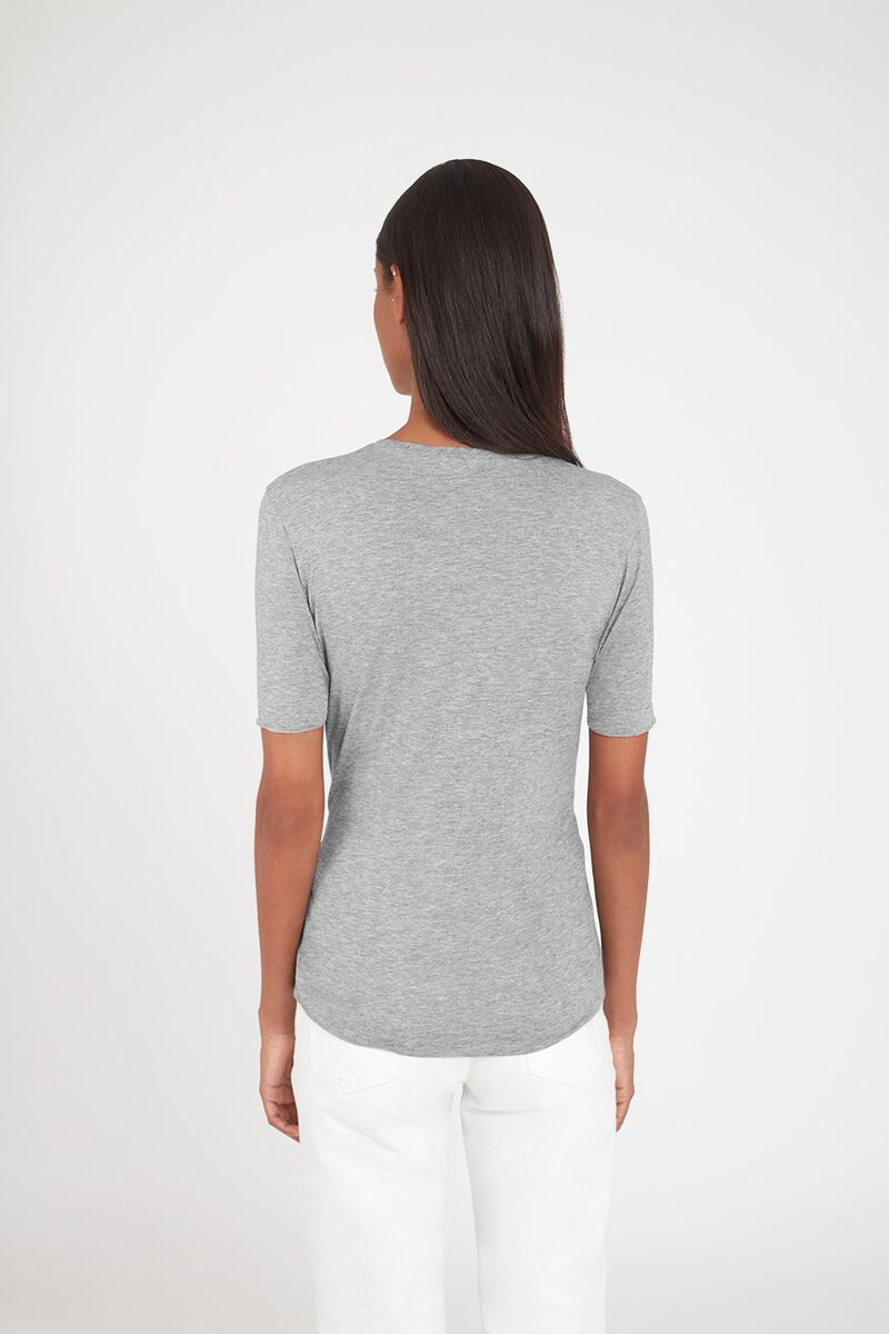 Slim Crewneck Tee in Heather Grey
